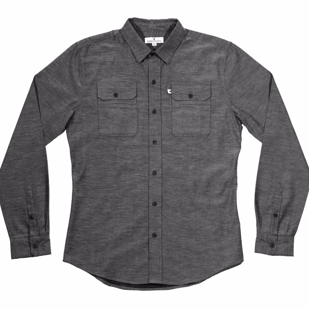 Lightweight Stretch Cotton Classic Work Shirt - Charcoal Fleck Work Shirt- Parker Dusseau : Functional Menswear Essentials for the Always Ready Lifestyle. Based in San Francisco, California
