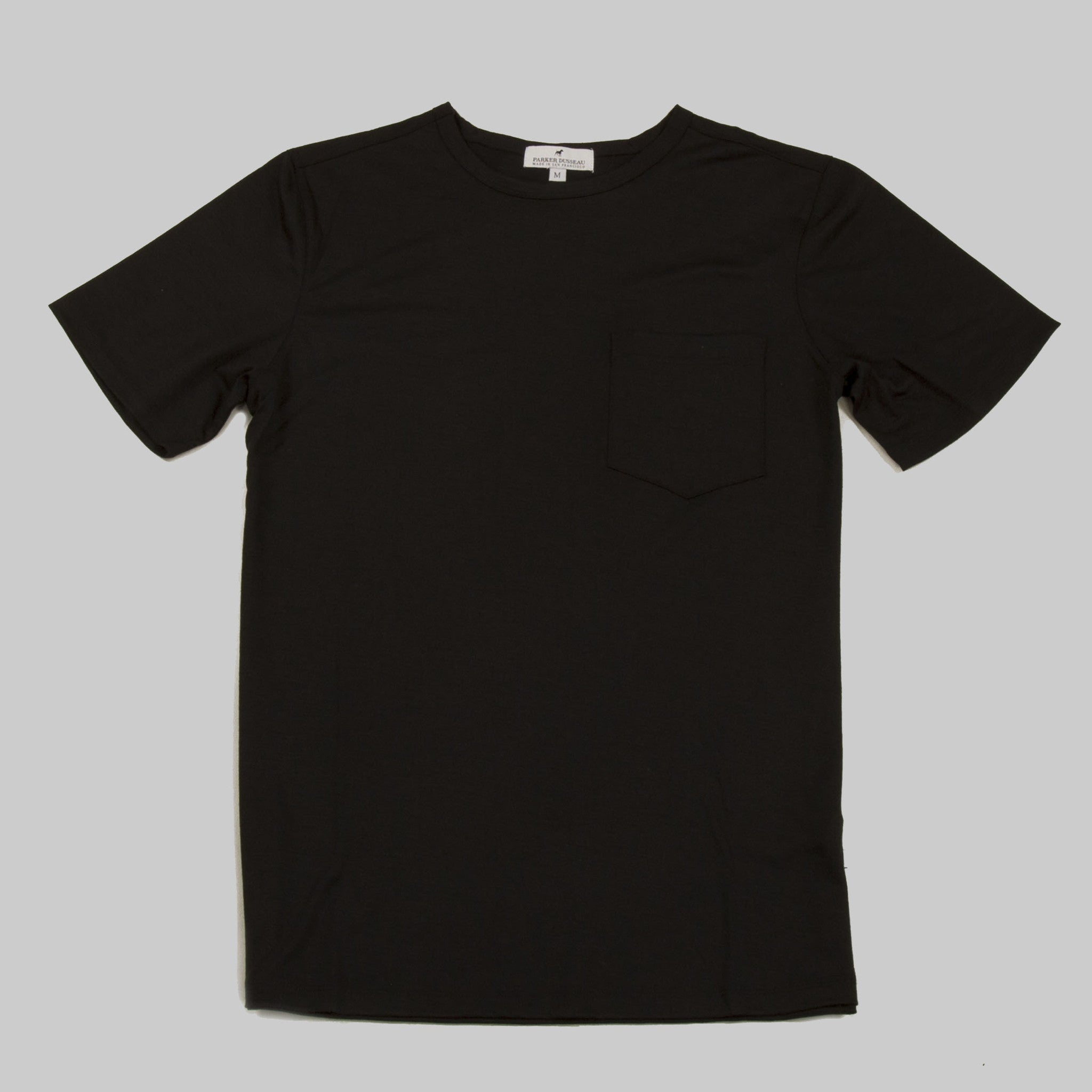Merino Wool Single Pocket Tee - Black Short Sleeve Merino Tee- Parker Dusseau : Functional Menswear Essentials for the Always Ready Lifestyle. Based in San Francisco, California