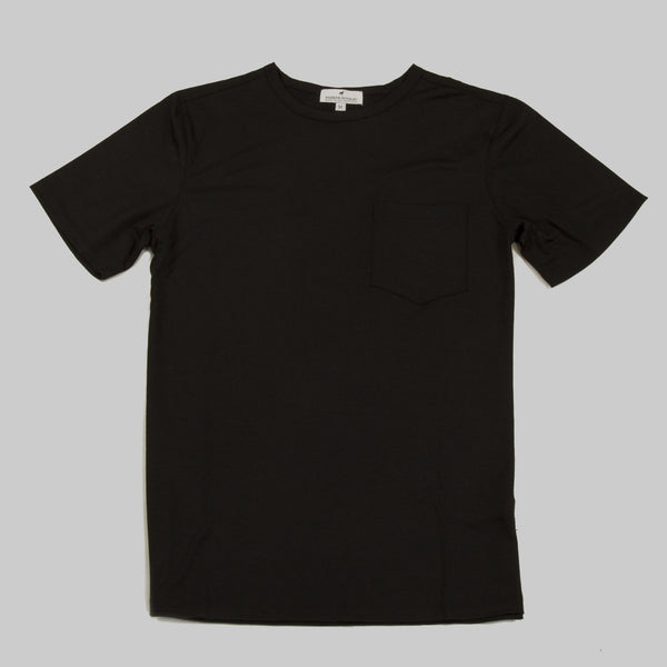Merino Wool Single Pocket Tee - Black