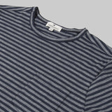 Merino Wool Single Pocket Tee - Navy Stripe Short Sleeve Merino Tee- Parker Dusseau : Functional Menswear Essentials for the Always Ready Lifestyle. Based in San Francisco, California
