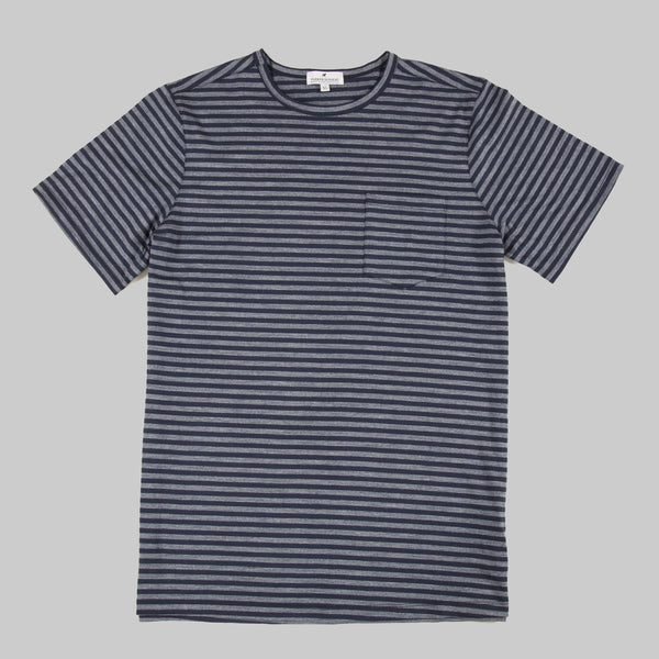 Merino Wool Single Pocket Tee - Navy Stripe