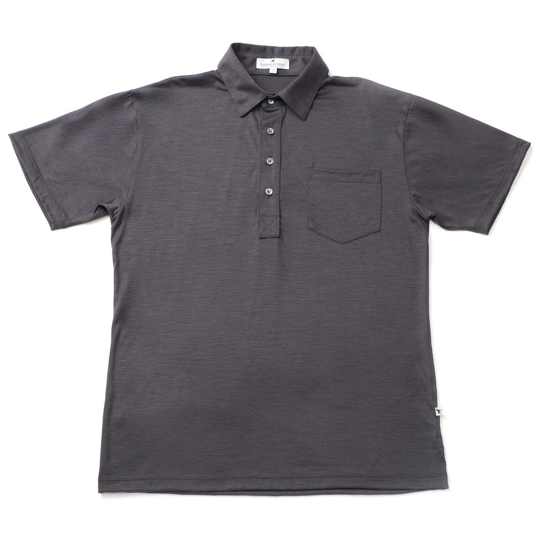 Merino Wool Short Sleeve Polo Shirt - Charcoal Polo Shirt- Parker Dusseau : Functional Menswear Essentials for the Always Ready Lifestyle. Based in San Francisco, California