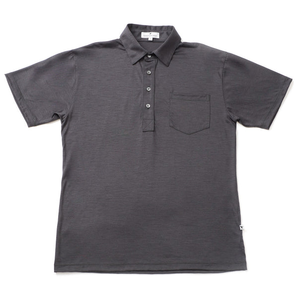 Merino Wool Short Sleeve Polo Shirt - Charcoal