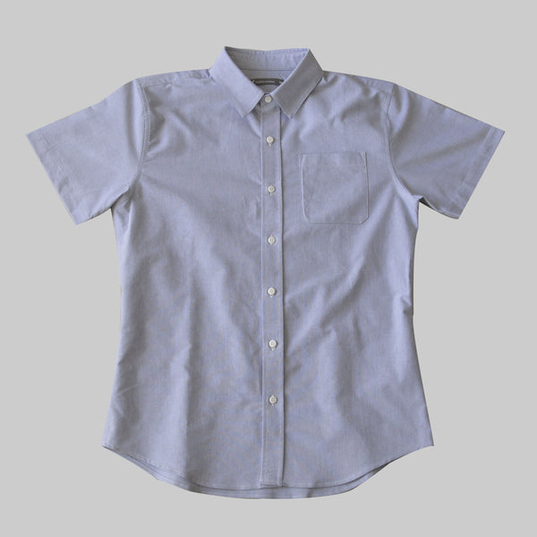 Short Sleeve Oxford Button Up - Fog Blue