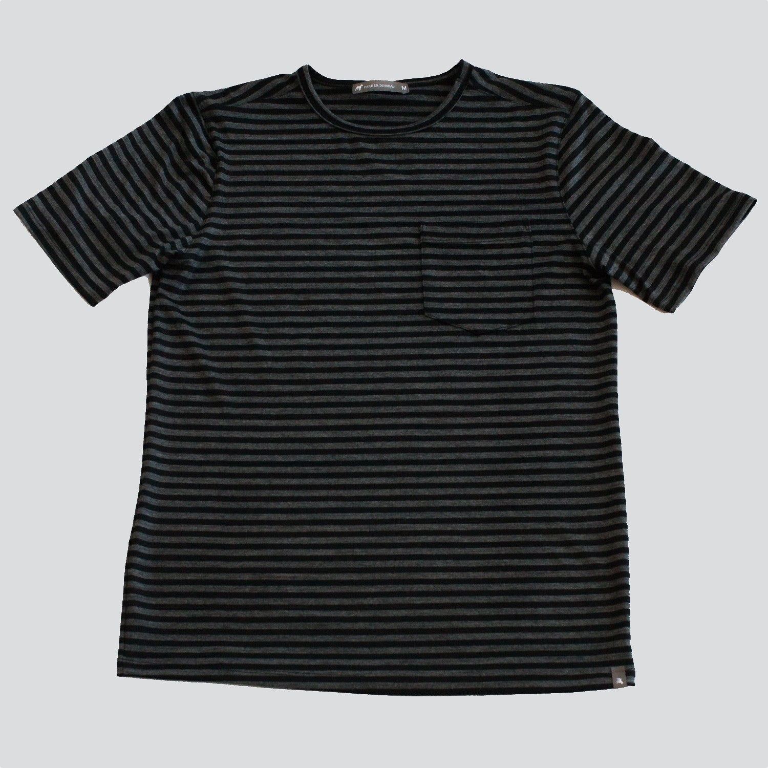 Merino Wool Single Pocket Tee - Charcoal Stripe Short Sleeve Merino Tee- Parker Dusseau : Functional Menswear Essentials for the Always Ready Lifestyle. Based in San Francisco, California