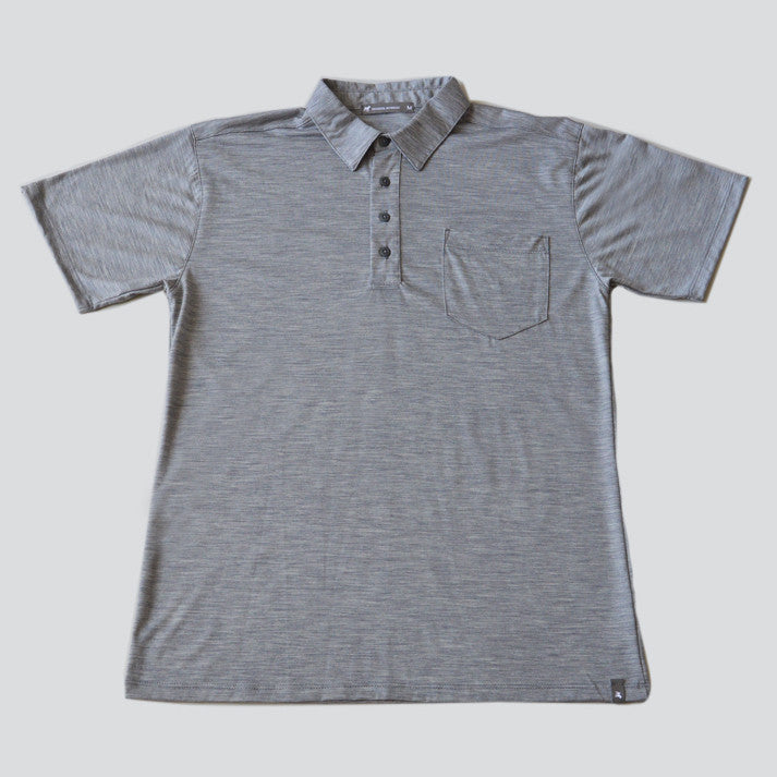 Merino Wool Short Sleeve Polo - Titanium Polo Shirt- Parker Dusseau : Functional Menswear Essentials for the Always Ready Lifestyle. Based in San Francisco, California