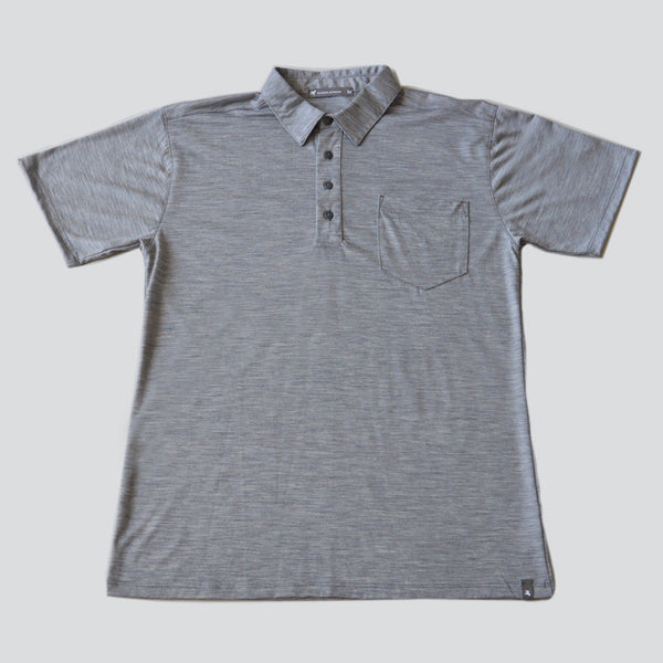 Merino Wool Short Sleeve Polo - Titanium