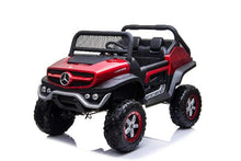 Load image into Gallery viewer, Mercedes Benz Unimog 2 Seater 24V Kids Ride On Car With Remote Control DELUXE MODEL WITH LEATHER SEATS AND RUBBER TIRES