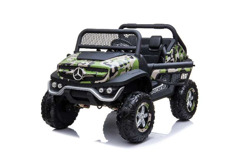 Mercedes Benz Unimog 2 Seater 12V Kids Ride On Car With Remote Control DELUXE MODEL WITH LEATHER SEATS AND RUBBER TIRES