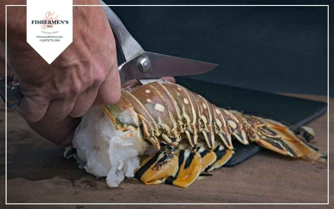 Gently cut the shell to remove it from the lobster meat