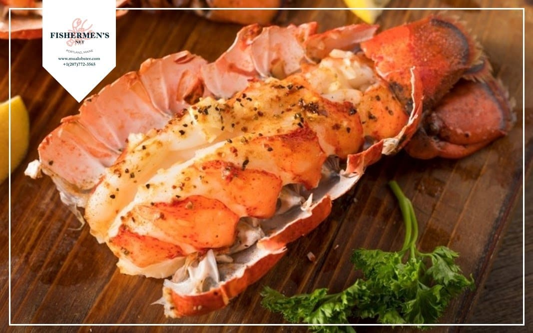 Serve lobster tails with a side of broccoli and a lemon wedge