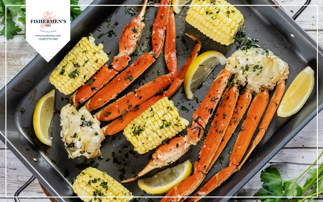 Oven-baked crab legs