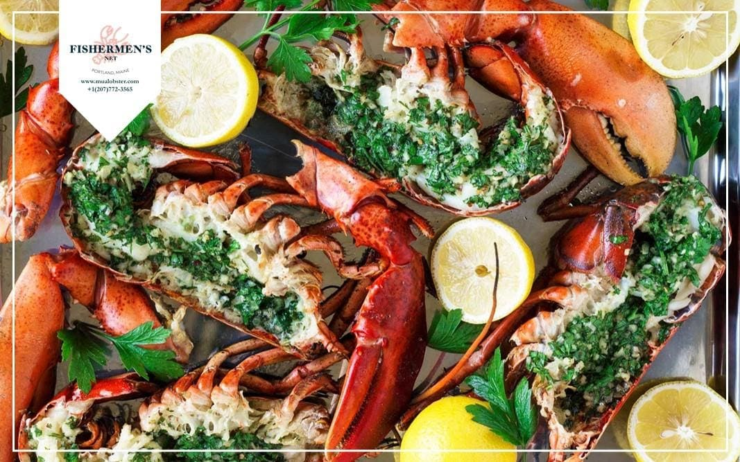 Butter garlic herb broiled lobster