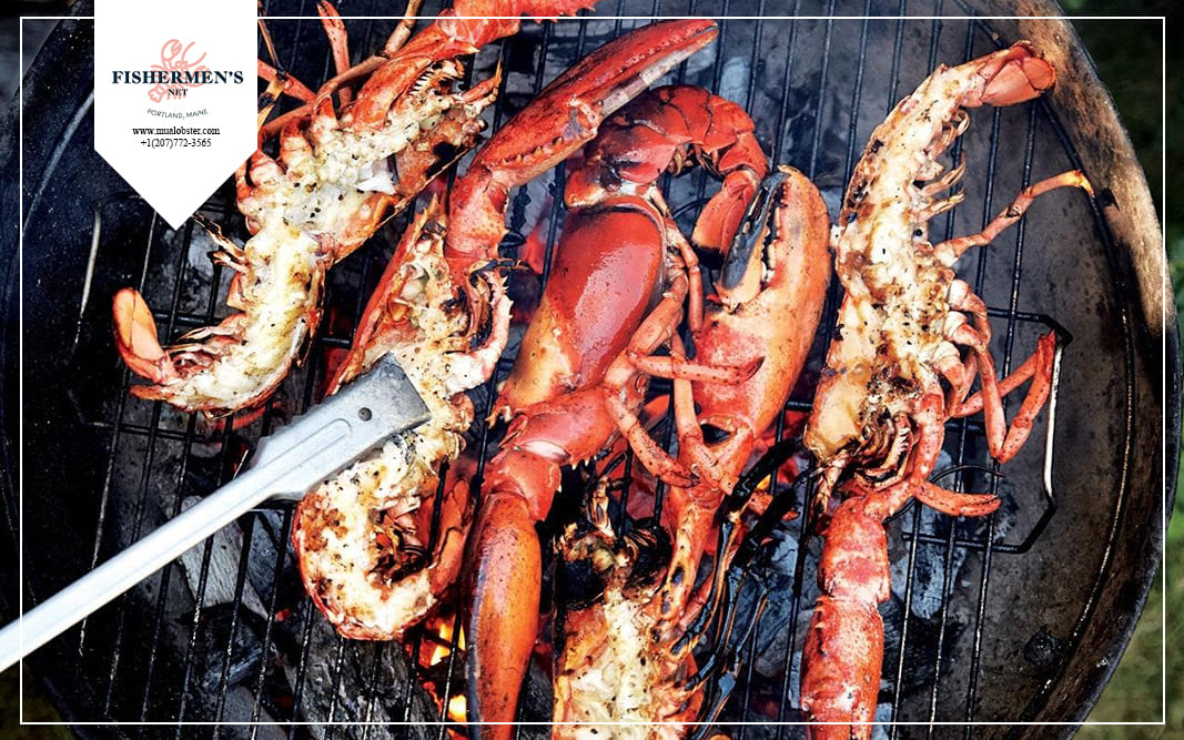 Cut through the meat and shell to get two halves of the lobster