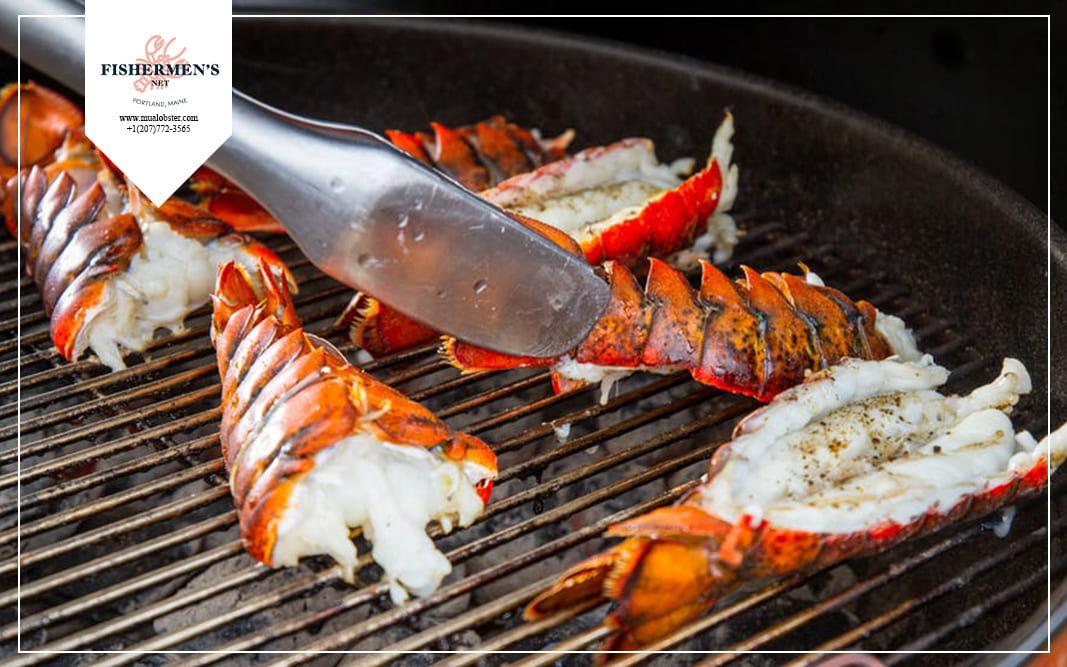Grilled frozen lobster tail is really simple