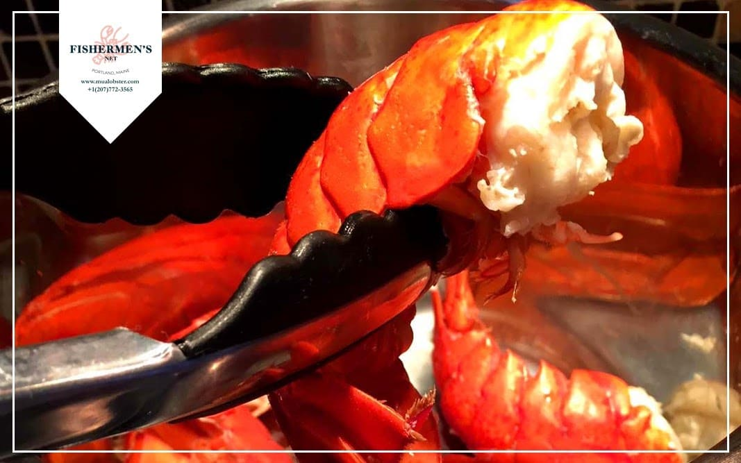 Check on one of the lobster tails when reaching the approximate cooking time