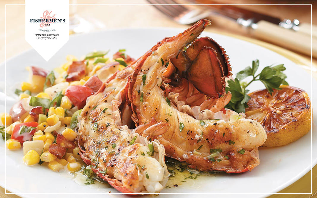 You can eat lobster tail with some vegetables and wine