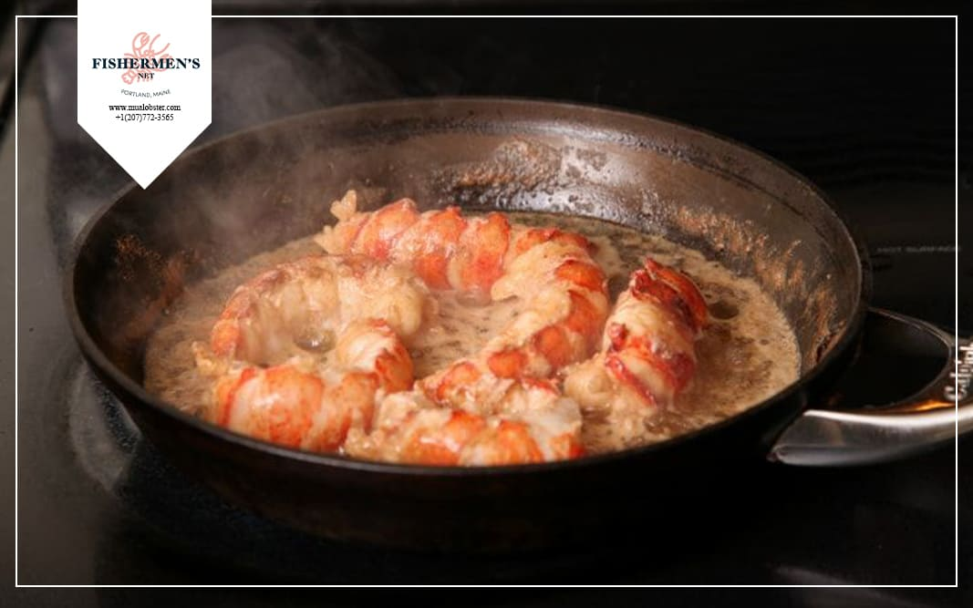 Butter poached lobster is a simple dish