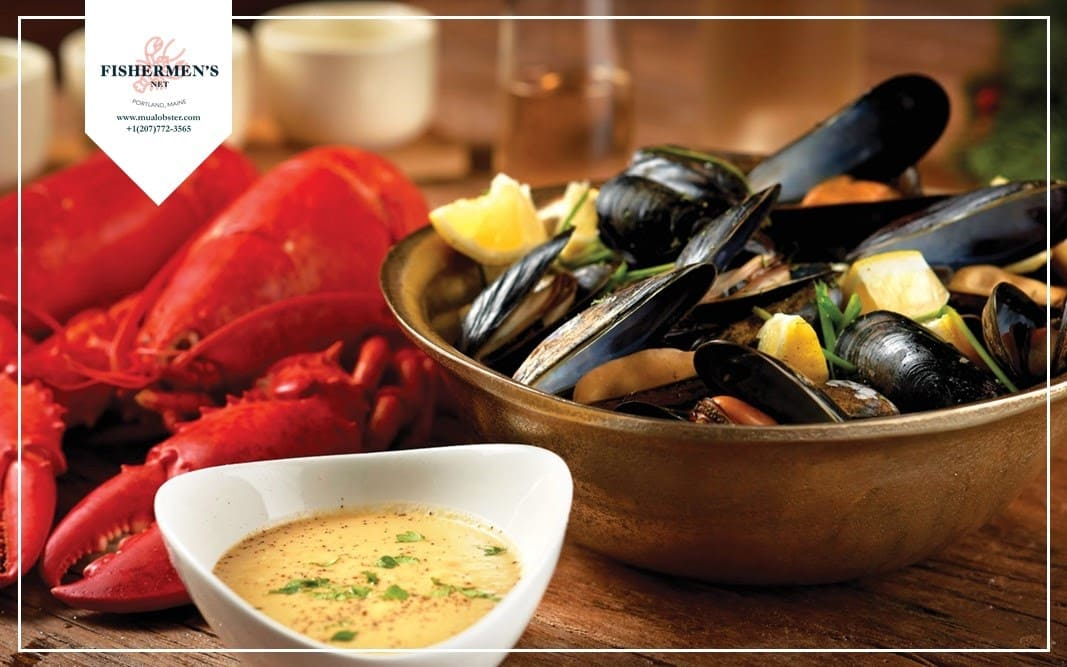 Lobster with Steamed Clams and Mussels