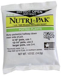 Nutri-Pak 18-6-12 Fertilizer  1 Year Packets - Shipping Included Pricing