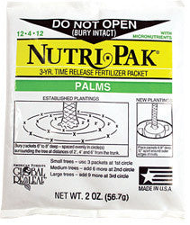 Nutri-Pak Palm 12-4-12 3 Year Packets - Shipping Included Pricing