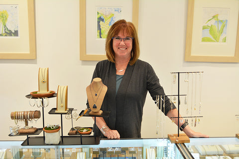 Eileen Baumeister McIntyre owner/jewelry designer at Garden of Silver handmade jewelry in Westhampton Beach, Hamptons, Long Island, New York