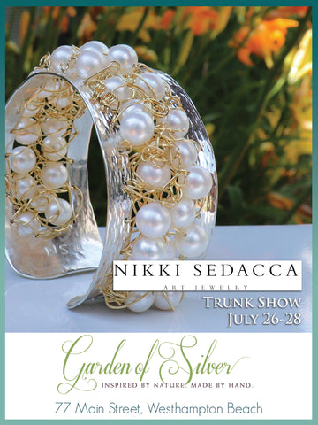 Nikki Sedacca art jewelry trunk show at Garden of Silver in Westhampton Beach, Hamptons, Long Island, New York.