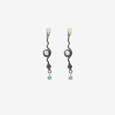 Protection Serpent Aquamarine, Indigo Tourmaline and Diamond Drop Earrings in Sterling Silver with 18k Gold by Jeffrey Borroughs at Garden of Silver in Westhampton Beach, NY