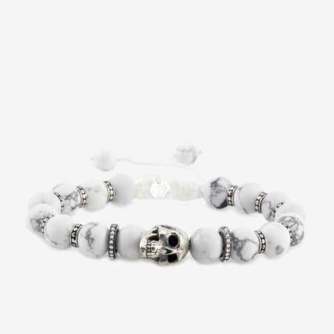 White Turquoise Silver Skull Diamond Bracelet by Jeffrey Borroughs at Garden of Silver in Westhampton Beach, NY www.gardenofsilver.com