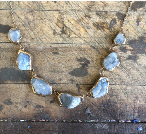 Aquamarine Necklace by Emilie Shapiro available at Garden of Silver handmade jewelry in Westhampton Beach, New York, Hamptons