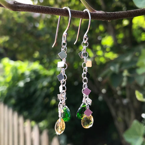 Handmade sterling and gemstone earrings by Garden of Silver.