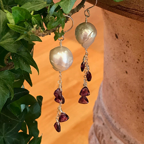 Baroque Garnet Earrings handmade by Garden of Silver in Westhampton Beach, New York.