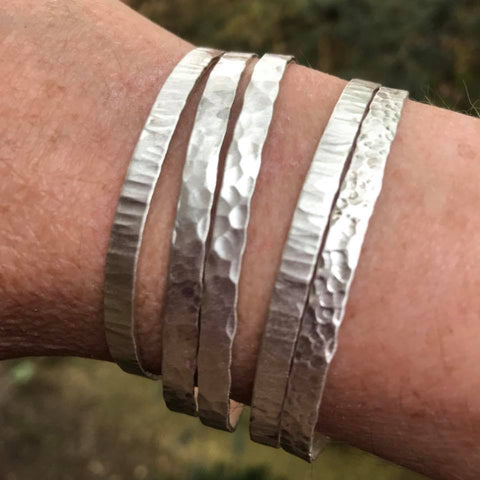 Sterling Hammered Bracelets