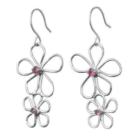 Double Pink Floating Flowers Earrings