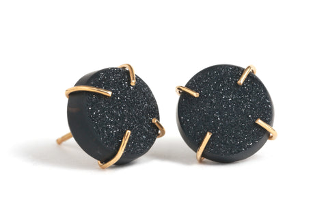 Black Druzy Gold Stud Earrings by Melissa Joy Manning at Garden of Silver in Westhampton Beach, NY www.gardenofsilver.com