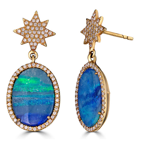 Diamond Opal 18K Gold Earrings by Elizabeth Moore at Garden of Silver in Westhampton Beach, New York, Hamptons