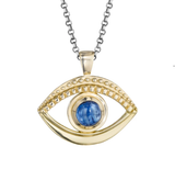 Evil Eye Gold and Kyanite Necklace handmade by Jane Bartel at Garden of Silver in Westhampton Beach, New York, Hamptons, Long Island