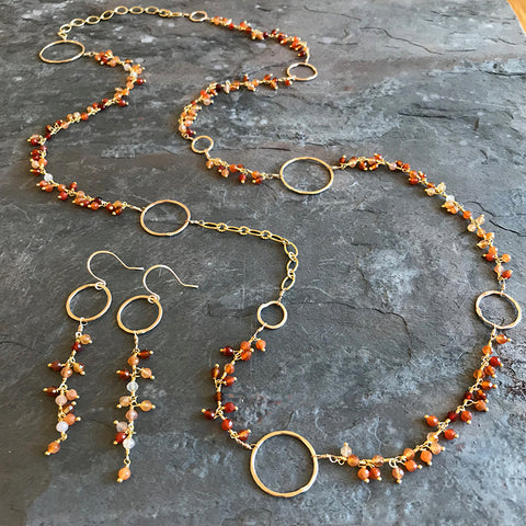 Fire Opal Moon Earrings and Necklace handmade by Garden of Silver, 77 Main Street, Westhampton Beach, New York