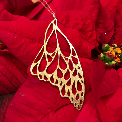 Golden Butterfly Wing Necklace handmade by Garden of Silver.