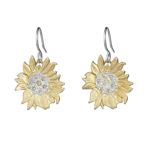 Golden Sunflower Earrings