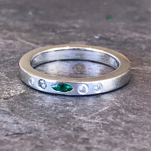 Sterling silver, tourmaline, diamond brushed bands by Garden of Silver in Westhampton Beach, Hamptons, NY www.gardenofsilver.com