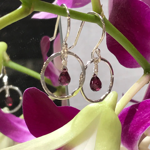Garnet Moon Earrings handmade by Garden of Silver