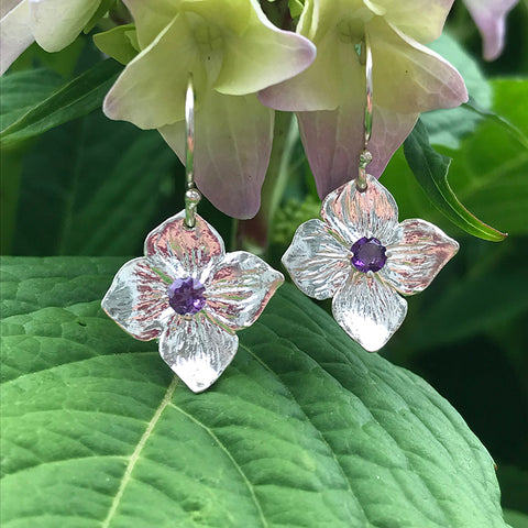 Amethyst Hydrangea Earrings