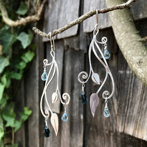 London Rain Earrings handmade in sterling silver with London blue and pale blue topaz gemstones. By Garden of Silver