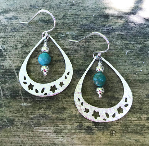 Turquoise Garden Earrings handmade with Arizona turquoise and sterling silver by Garden of Silver.