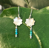 Turquoise Bloom Earrings handmade with Arizona turquoise and sterling silver by Garden of Silver.