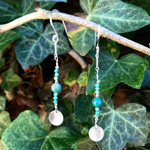 Arizona Turquoise Bubbles earrings handmade by Garden of Silver.
