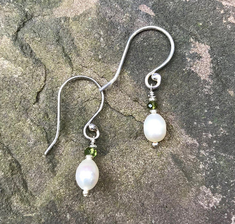 Shoreline Earrings handmade by Garden of Silver with pearls and green tourmaline gemstones.