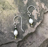 Montauk Pearls Earrings handmade by Garden of Silver.