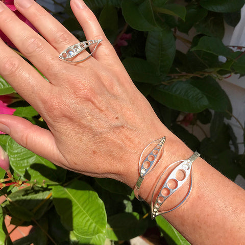 Oyster Bay Bracelet and ring handmade in sterling silver by Garden of Silver.